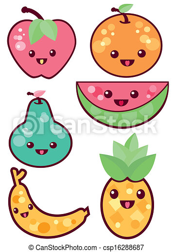 kawaii fruits is an illustration in an eps file vector search rh canstockphoto com kawaii clipart black and white kawaii clip art free