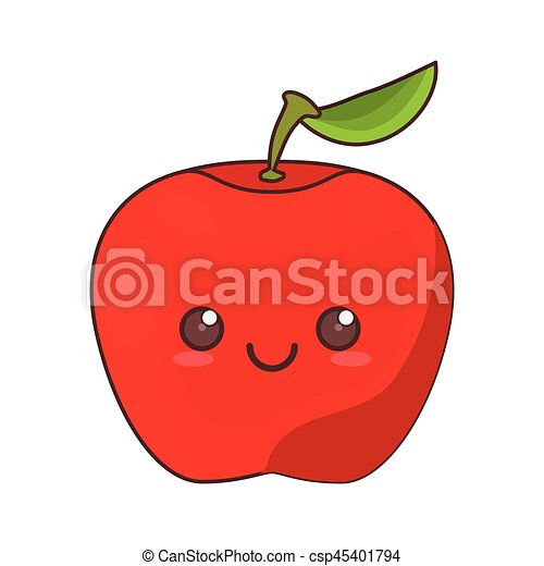 Kawaii Fruta Maçã ícone