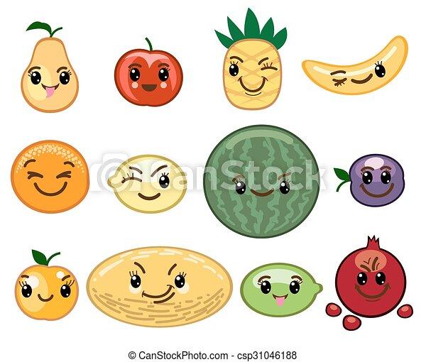 Kawaii Frutta Caratteri Kawaii Prugna Albicocca Melone