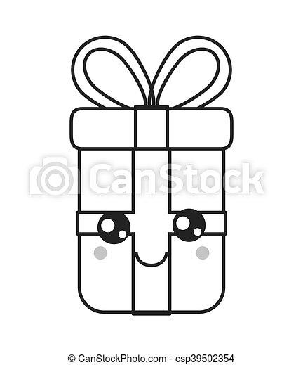 kawaii gift box icon - csp39502354