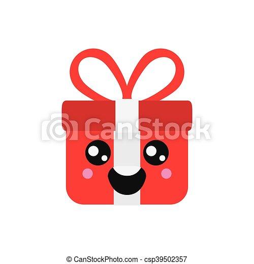 kawaii gift box icon - csp39502357