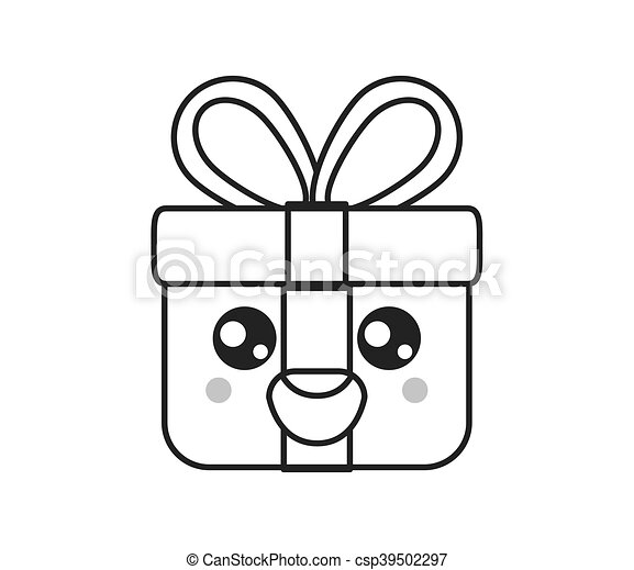 kawaii gift box icon - csp39502297