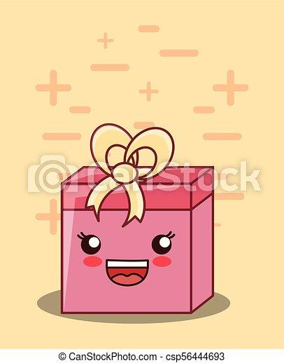 kawaii gift box icon - csp56444693
