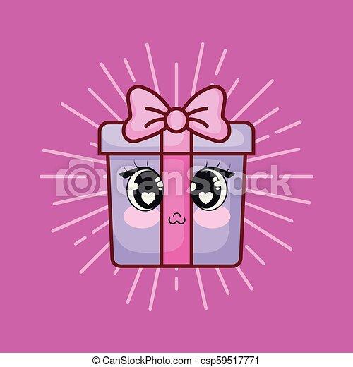 kawaii gift box icon - csp59517771