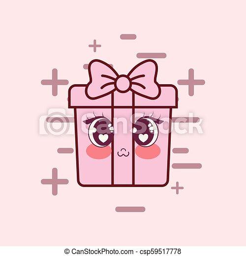 kawaii gift box icon - csp59517778