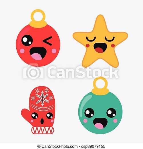 Kawaii Gráfico Set Vetorial Feliz Design Natal ícone