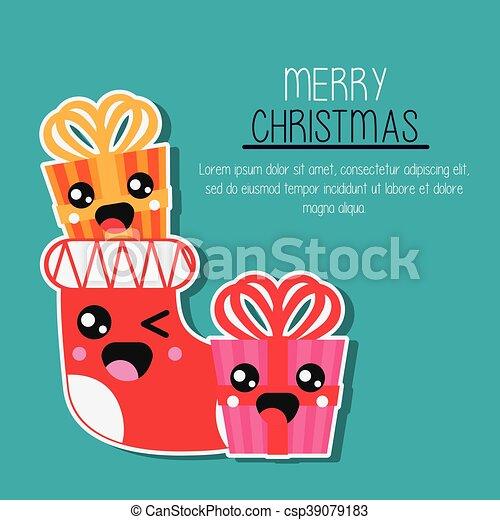 Kawaii Graphique Cadeau Boot Vecteur Joyeux Noël Design