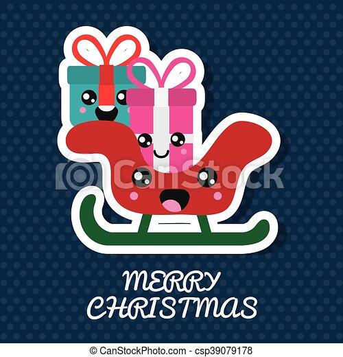 Kawaii Graphique Cadeau Vecteur Sled Joyeux Noël Design