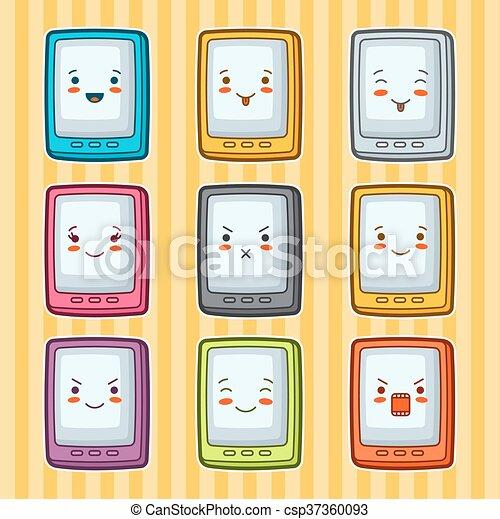 Kawaii Griffonnage Set Illustration Gadgets Tablettes Facial Divers Expression