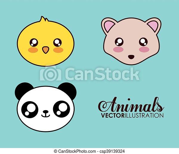 Kawaii Hérisson Graphique Vecteur Icon Poulet Panda