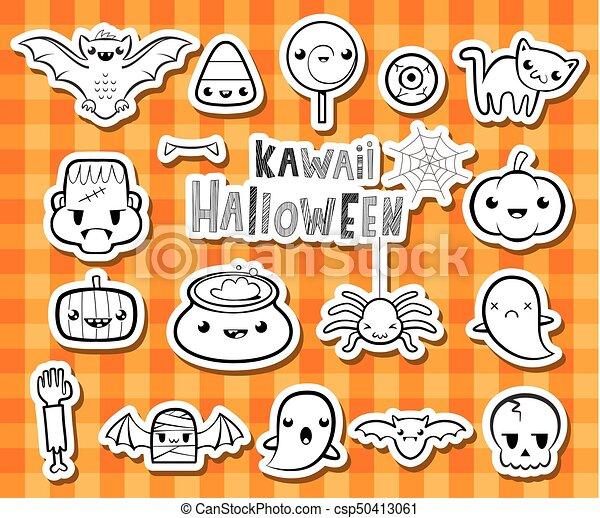 Kawaii halloween illusrations. Halloween symbols in lovely... clip ...