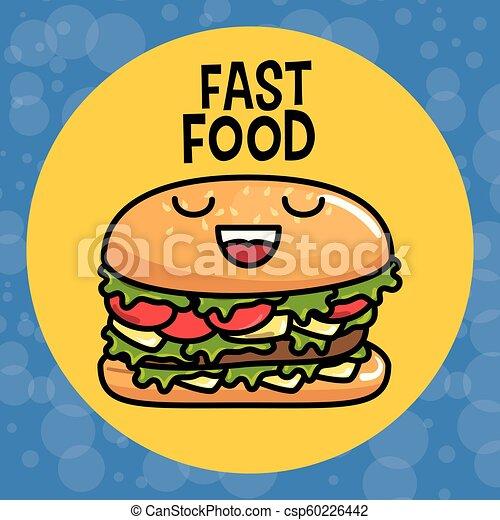 Kawaii Hamburger Caractere Delicieux Kawaii Caractere Illustration Hamburger Vecteur Conception Delicieux Canstock