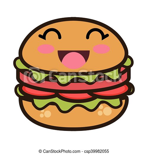 Kawaii hamburger cibo digiuno cartone animato kawaii for Disegni kawaii facili