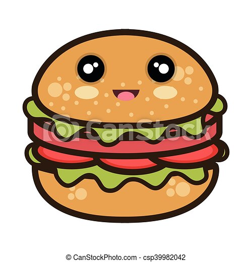 Kawaii Hamburger Nourriture Jeûne Dessin Animé