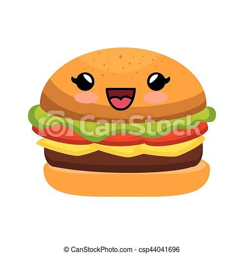 Kawaii Hamburger Style Caractere Kawaii Style Hamburger Caractere Illustration Vecteur Icone Canstock