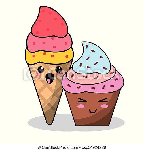 kawaii ice cream cupcake image vector illustration eps 10