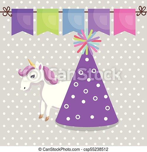 116e4c6fa38b3 Cute Unicorn With Party Hat Kawaii Character Birthday Card