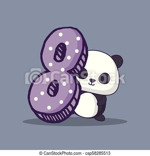 Kawaii Lindo Carácter Número Oso Ocho Panda Kawaii Lindo
