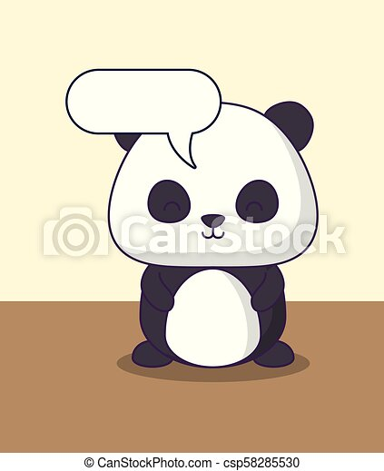 Kawaii Lindo Carácter Oso Burbuja Del Discurso Panda Kawaii