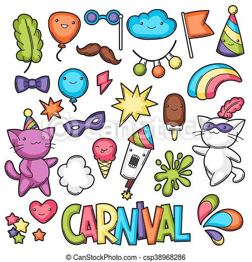 La Fiesta De Carnaval De Kawaii Gatos Lindos Decoración