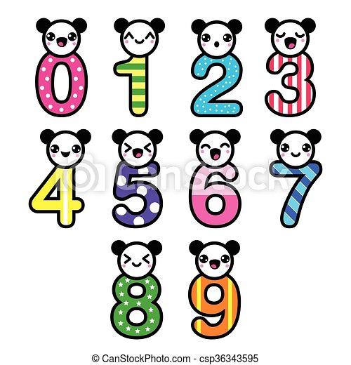 Kawaii Lindo Conjunto Oso Vect Números Kawaii Estilo