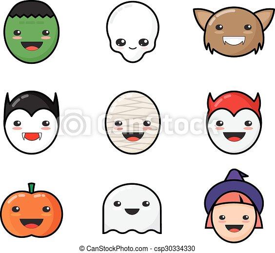 Bonitos kawaii iconos de Halloween. Caras de monstruo gracioso. - csp30334330