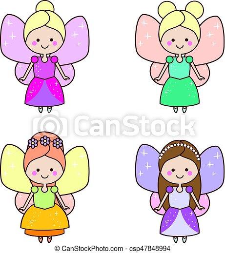 Kawaii Lindo Niños Alado Niñas Hadas Dresses