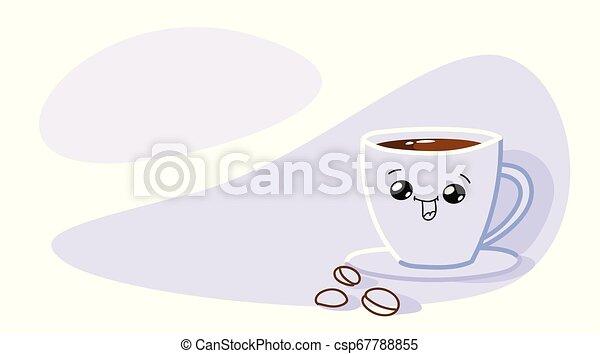 Feliz taza de café sonriente con cara graciosa de kawaii bebida caliente horizontal - csp67788855