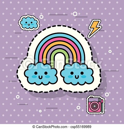 Kawaii Mignon Arc En Ciel Points Fantasme Fond Nuage