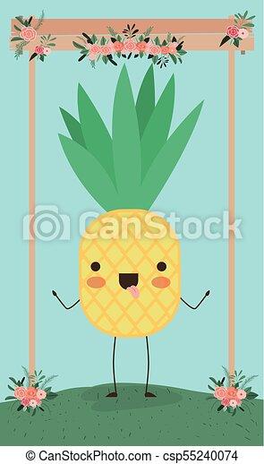 Kawaii Mignon Caractère Paysage Ananas
