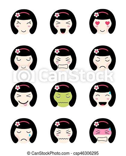 Kawaii Mignon Different Collection Figure Humeurs Girl Emoji Asiatique Mignon Ensemble Loved Triste Japonaise Canstock