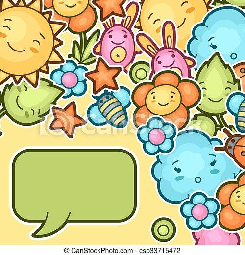 Kawaii Mignon Doodles Fond Enfant Kawaii Mignon Fleur Soleil