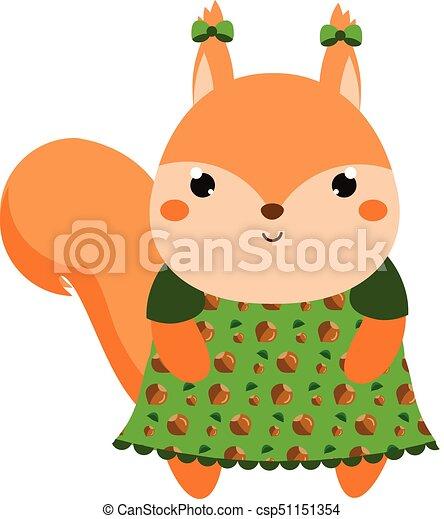Kawaii Mignon Dress écureuil Animal Character Illustration Gosses Vecteur Bébés Mode Dessin Animé
