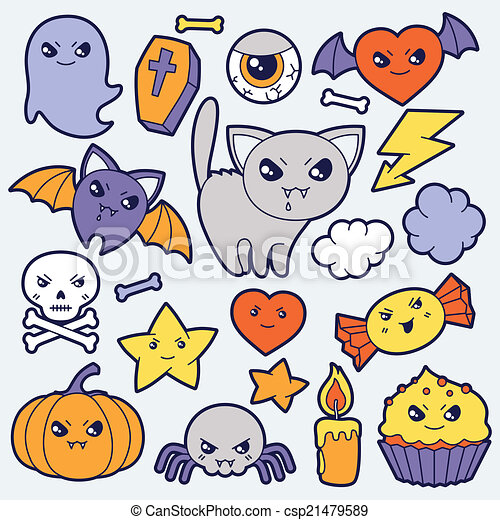 Kawaii Mignon Ensemble Halloween Doodles Objects
