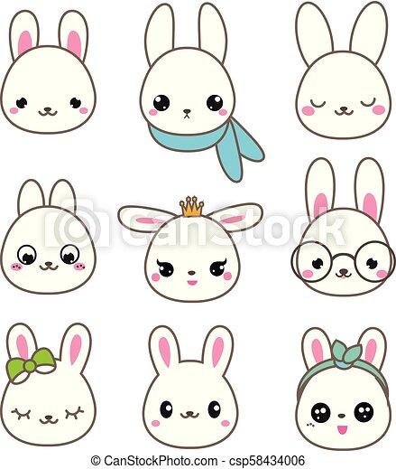Kawaii Mignon Ensemble Icones Rabbits Vecteur Faces Lapin