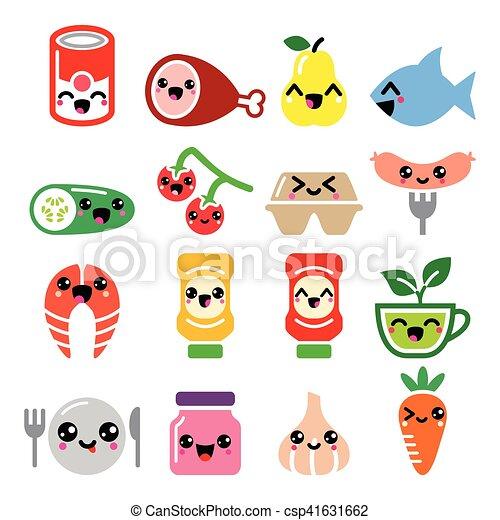 Kawaii Mignon Ensemble Légumes Nourriture Viande Icônes Fruit Caractères