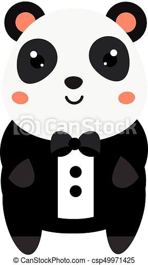 Kawaii Mignon Gosses Tuxedo Animal Character Illustration Dessin Anime Vecteur Noir Bebes Mode Panda Kawaii Canstock