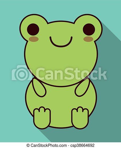 Kawaii Mignon Graphique Grenouille Vecteur Animal Icon