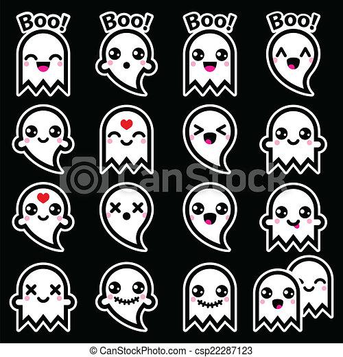 Kawaii Mignon Halloween Fantôme Icônes