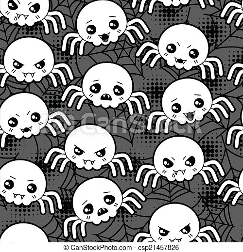 kawaii, mignon, modèle, halloween, seamless, spiders., dessin animé - csp21457826