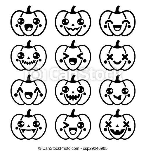 Kawaii Mignon Noir Halloween Citrouille