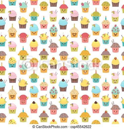Kawaii Mignon Petits Gâteaux Emoji Cupcakes Modèle Seamless Caractères Anniversaire Fond Muffins Dessin Animé