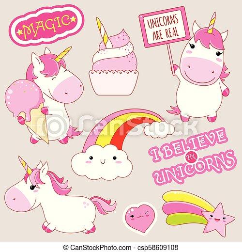 Kawaii Mignon Style Ensemble Unicorns Autocollants