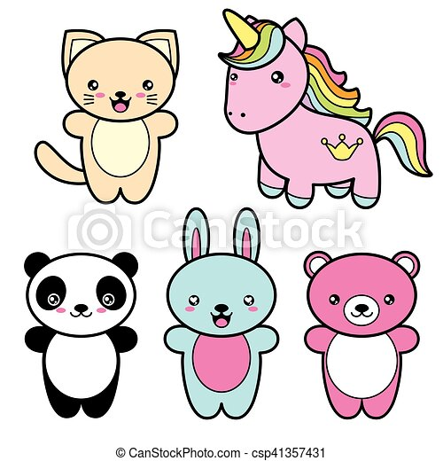 Kawaii Mignon Style Ensemble Collection Animals Sourire Heureux