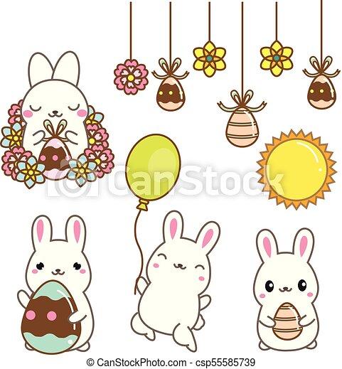 Kawaii Mignon Style Lapins Agrafe Bunnies Isolé Dessin Animé Oeufs Flowers Art Stickers Paques Conception