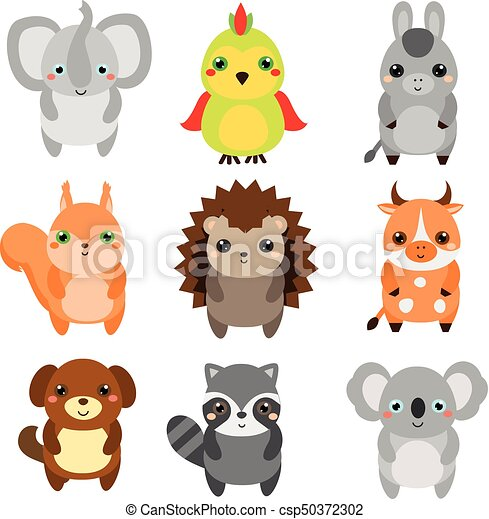 Kawaii Mignon Vie Sauvage éléments Ferme Enfants Isolé Animals Conception Vector Animaux Dessin Animé Style