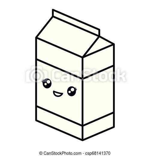 kawaii milk box icon - csp68141370