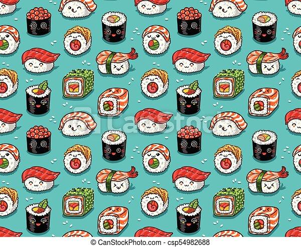 Kawaii Nourriture Modele Seamless Illustration Japonaise Vecteur Mer Style Kawaii Modele Sushi Seamless Style Canstock