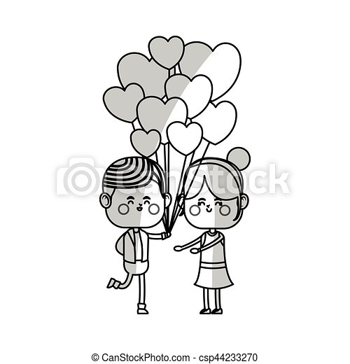 Kawaii Pareja Amor Kawaii Corazón Amor Pareja Ilustración