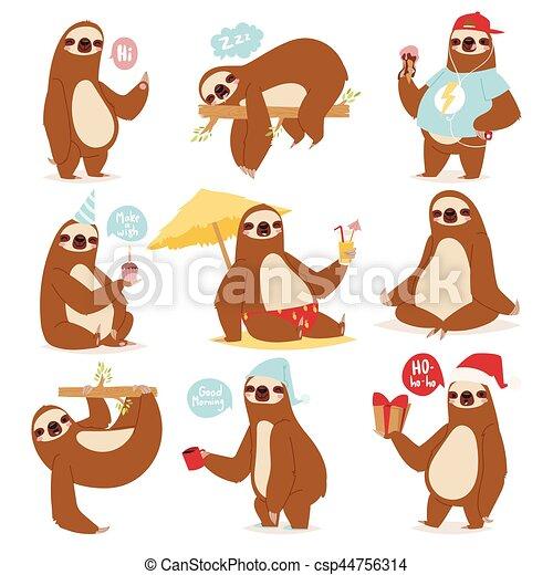 Pereza perezosa, carácter animal diferente pose como dibujos animados de dibujos animados humanos vagos y reducir la velocidad de mamíferos salvajes diseño plano ilustración vectorial de diseño plano. - csp44756314